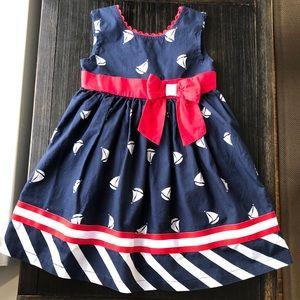 Nautical trend 3T toddler girls dress w ribbon
